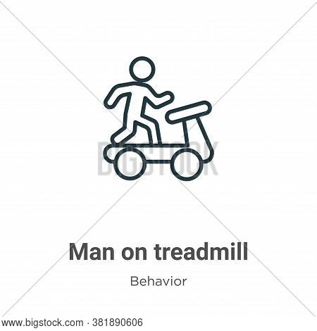 Man on treadmill icon isolated on white background from behavior collection. Man on treadmill icon t