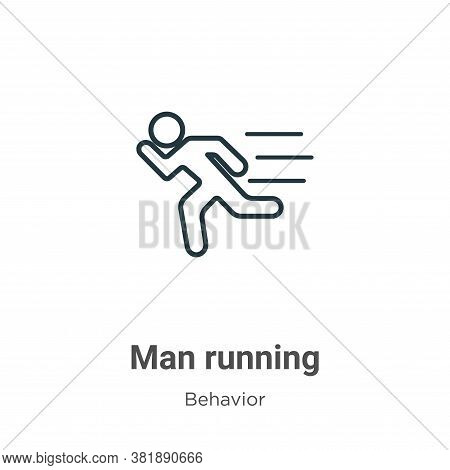 Man running icon isolated on white background from behavior collection. Man running icon trendy and
