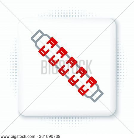 Line Hunting Cartridge Belt With Cartridges Icon Isolated On White Background. Bandolier Sign. Hunte