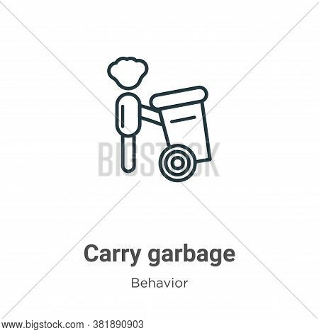 Carry garbage icon isolated on white background from behavior collection. Carry garbage icon trendy