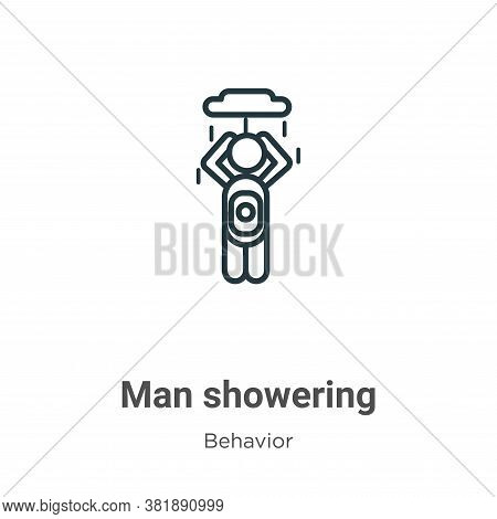 Man showering icon isolated on white background from behavior collection. Man showering icon trendy