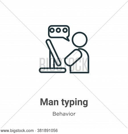 Man typing icon isolated on white background from behavior collection. Man typing icon trendy and mo