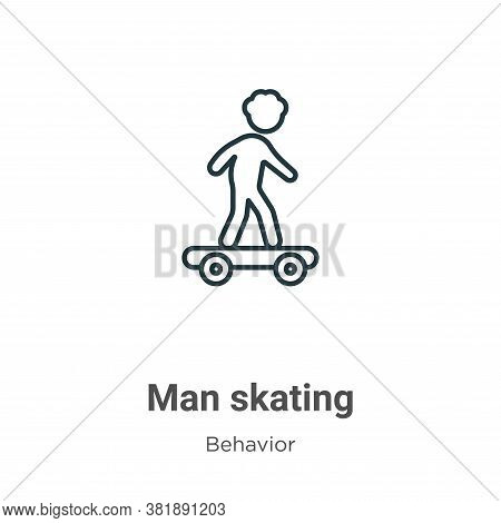 Man skating icon isolated on white background from behavior collection. Man skating icon trendy and