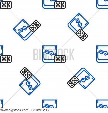 Line Game Dice And Glass Of Whiskey With Ice Cubes Icon Isolated Seamless Pattern On White Backgroun