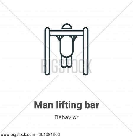 Man lifting bar icon isolated on white background from behavior collection. Man lifting bar icon tre
