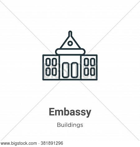Embassy icon isolated on white background from buildings collection. Embassy icon trendy and modern