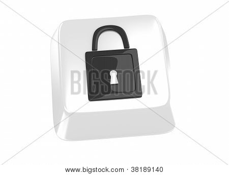Lock Icon In Black On White Computer Key. 3D Illustration. Isolated Background.