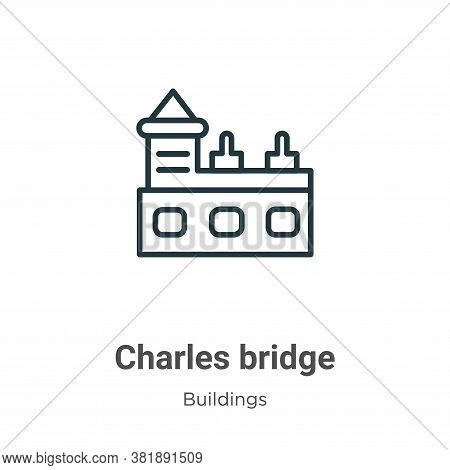 Charles bridge icon isolated on white background from buildings collection. Charles bridge icon tren