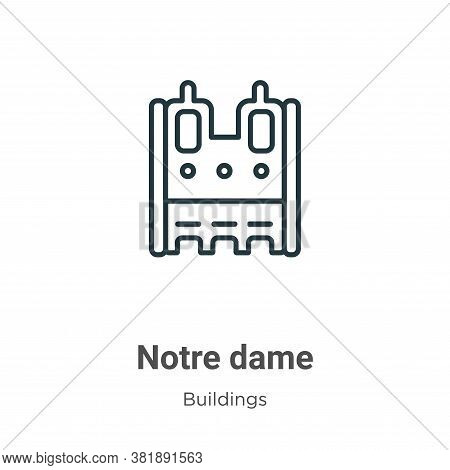 Notre dame icon isolated on white background from buildings collection. Notre dame icon trendy and m