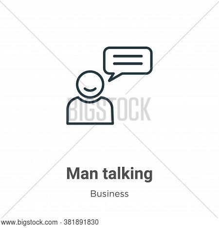 Man talking icon isolated on white background from business collection. Man talking icon trendy and