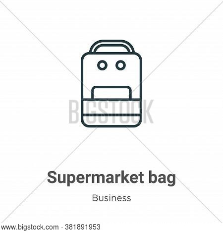 Supermarket bag icon isolated on white background from business collection. Supermarket bag icon tre