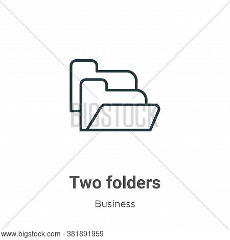 Two folders icon isolated on white background from business collection. Two folders icon trendy and