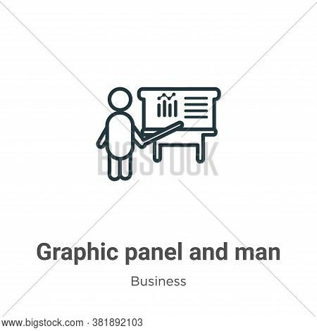 Graphic panel and man icon isolated on white background from business collection. Graphic panel and