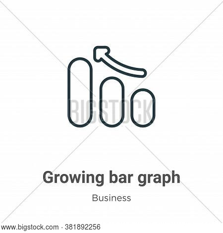 Growing bar graph icon isolated on white background from business collection. Growing bar graph icon