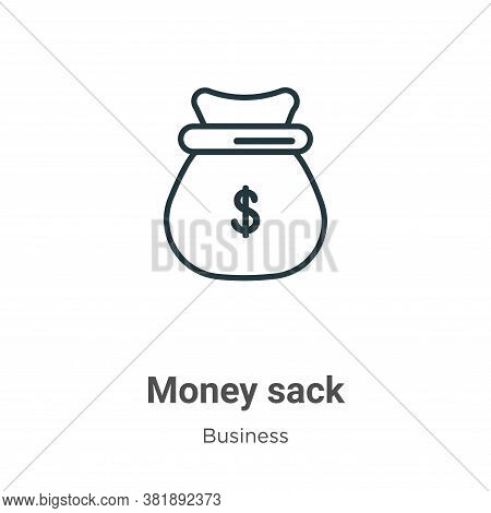 Money sack icon isolated on white background from business collection. Money sack icon trendy and mo