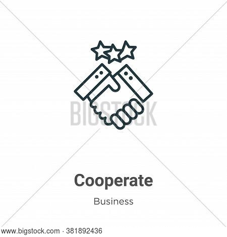 Cooperate icon isolated on white background from business collection. Cooperate icon trendy and mode