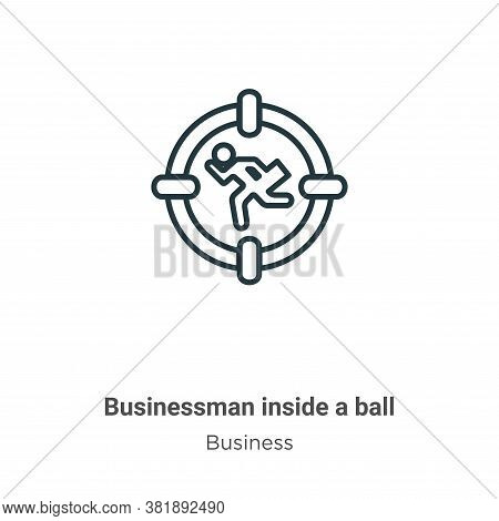 Businessman inside a ball icon isolated on white background from business collection. Businessman in