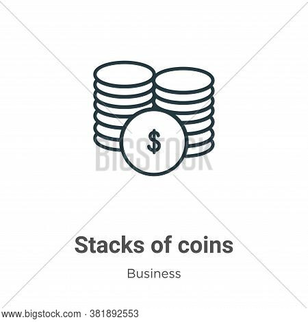 Stacks of coins icon isolated on white background from business collection. Stacks of coins icon tre