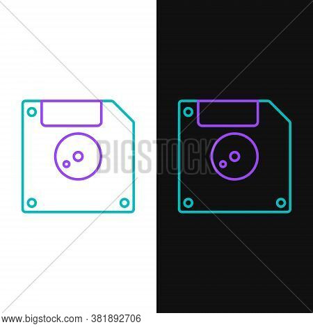 Line Floppy Disk For Computer Data Storage Icon Isolated On White And Black Background. Diskette Sig