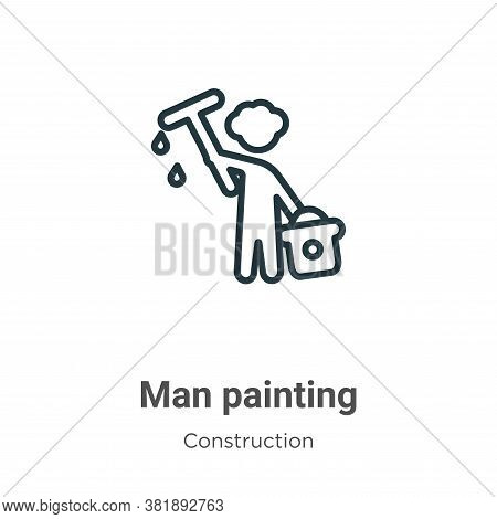 Man painting icon isolated on white background from construction collection. Man painting icon trend