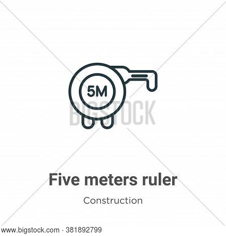 Five meters ruler icon isolated on white background from construction collection. Five meters ruler