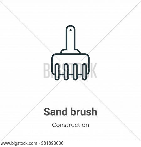 Sand brush icon isolated on white background from construction collection. Sand brush icon trendy an