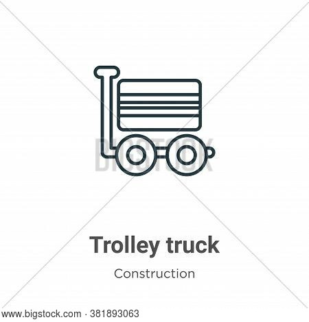 Trolley truck icon isolated on white background from construction collection. Trolley truck icon tre