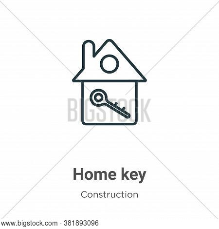 Home key icon isolated on white background from construction collection. Home key icon trendy and mo