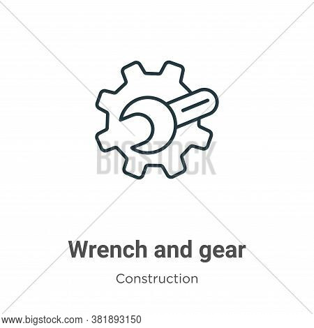 Wrench and gear icon isolated on white background from construction collection. Wrench and gear icon