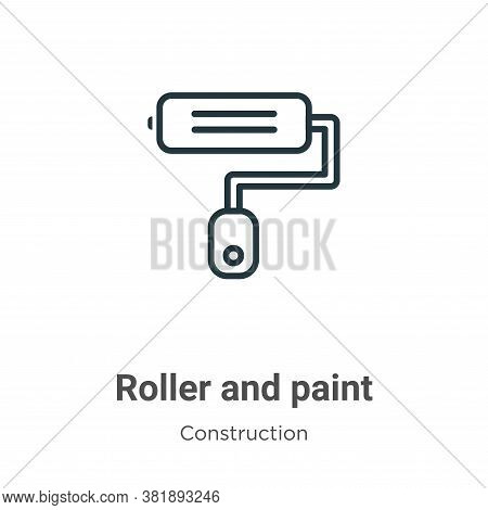 Roller and paint icon isolated on white background from construction collection. Roller and paint ic