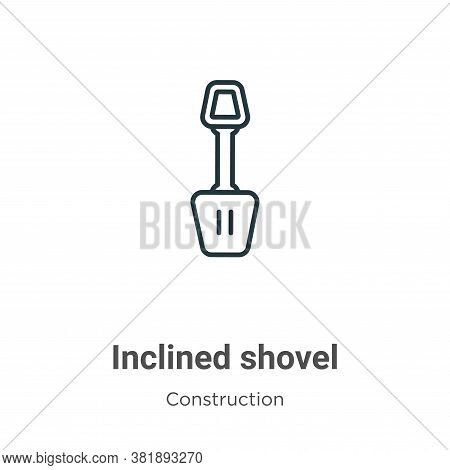 Inclined shovel icon isolated on white background from construction collection. Inclined shovel icon