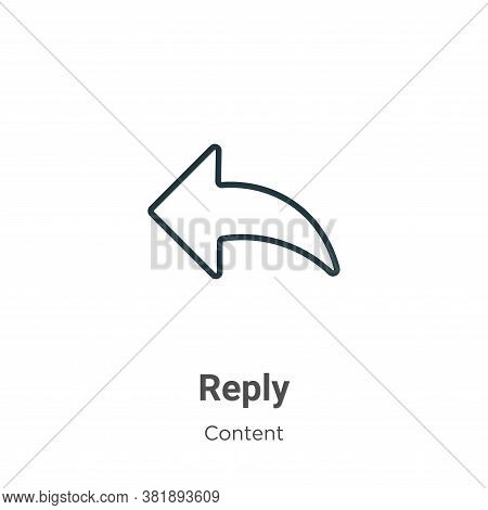 Reply icon isolated on white background from content collection. Reply icon trendy and modern Reply