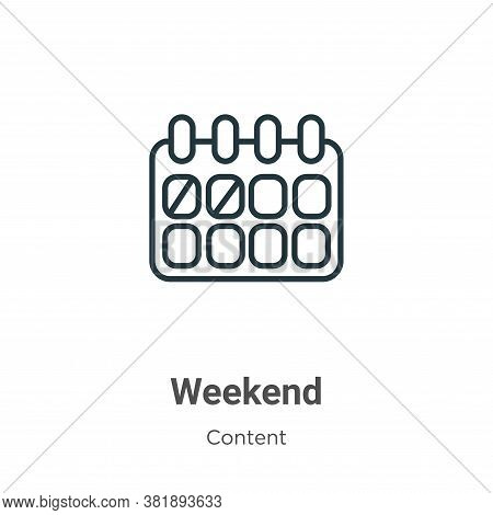 Weekend icon isolated on white background from content collection. Weekend icon trendy and modern We