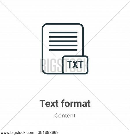 Text Format Icon From Content Collection Isolated On White Background.