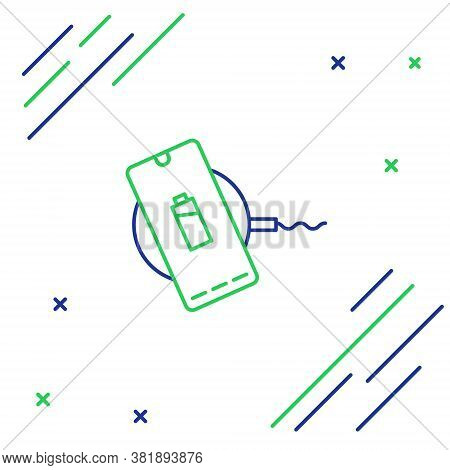 Line Smartphone Charging On Wireless Charger Icon Isolated On White Background. Charging Battery On