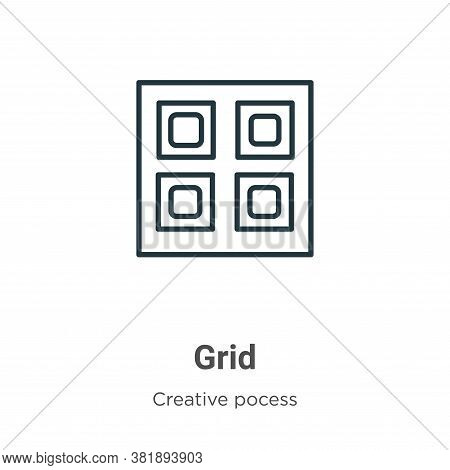 Grid icon isolated on white background from creative pocess collection. Grid icon trendy and modern