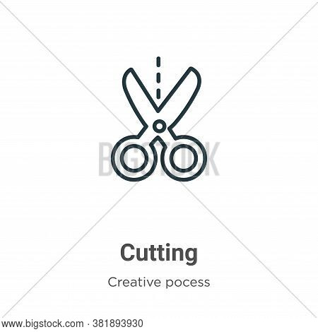 Cutting icon isolated on white background from creative pocess collection. Cutting icon trendy and m