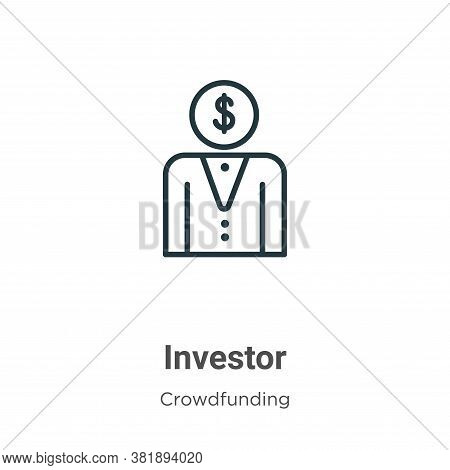 Investor icon isolated on white background from crowdfunding collection. Investor icon trendy and mo
