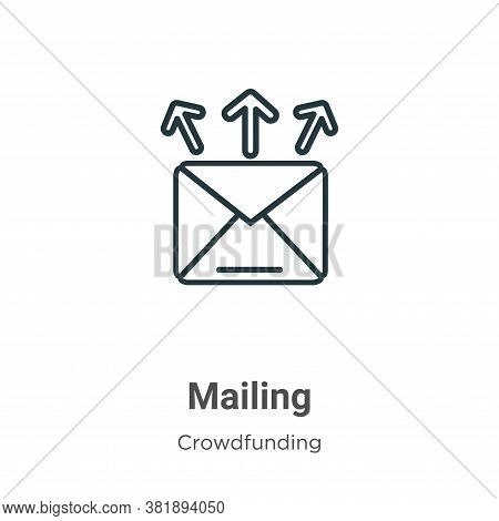 Mailing icon isolated on white background from crowdfunding collection. Mailing icon trendy and mode