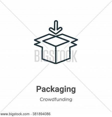 Packaging icon isolated on white background from crowdfunding collection. Packaging icon trendy and