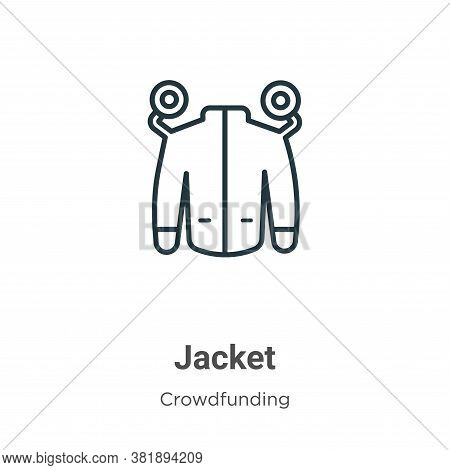 Jacket icon isolated on white background from crowdfunding collection. Jacket icon trendy and modern