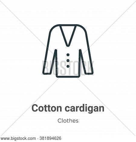 Cotton Cardigan Icon From Clothes Collection Isolated On White Background.