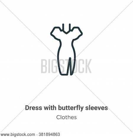 Dress with butterfly sleeves icon isolated on white background from clothes collection. Dress with b