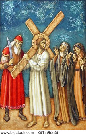 ZAGREB, CROATIA - FEBRUARY 19, 2013: 8th Stations of the Cross, Jesus meets the daughters of Jerusalem, parish church Precious Blood of Jesus in Zagreb, Croatia