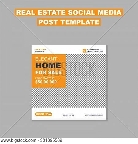 Real Estate Social Media Post Template. Elegant Of Real Estate Or Home Sale Social Media Promotion,