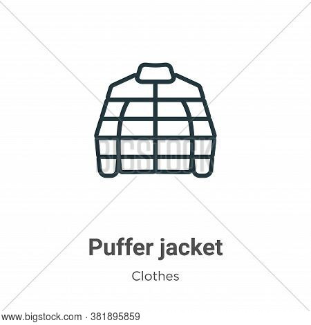 Puffer jacket icon isolated on white background from clothes collection. Puffer jacket icon trendy a