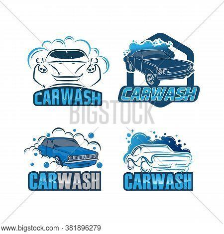 Set Of Logos For Car Washing On A White Background. Car Logos. Logos Of Car Cleaning. Blue Logos Of