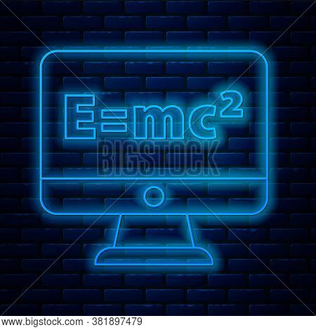 Glowing Neon Line Math System Of Equation Solution On Computer Monitor Icon Isolated On Brick Wall B