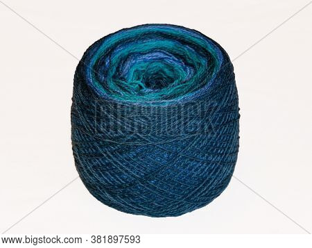 Colored Ball Of Yarn. Rainbow Colors. Yarn For Knitting. Skein Of Yarn. Isolate On A White Backgroun