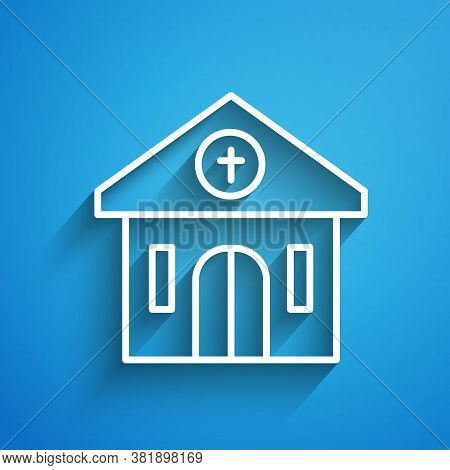 White Line Church Building Icon Isolated On Blue Background. Christian Church. Religion Of Church. L